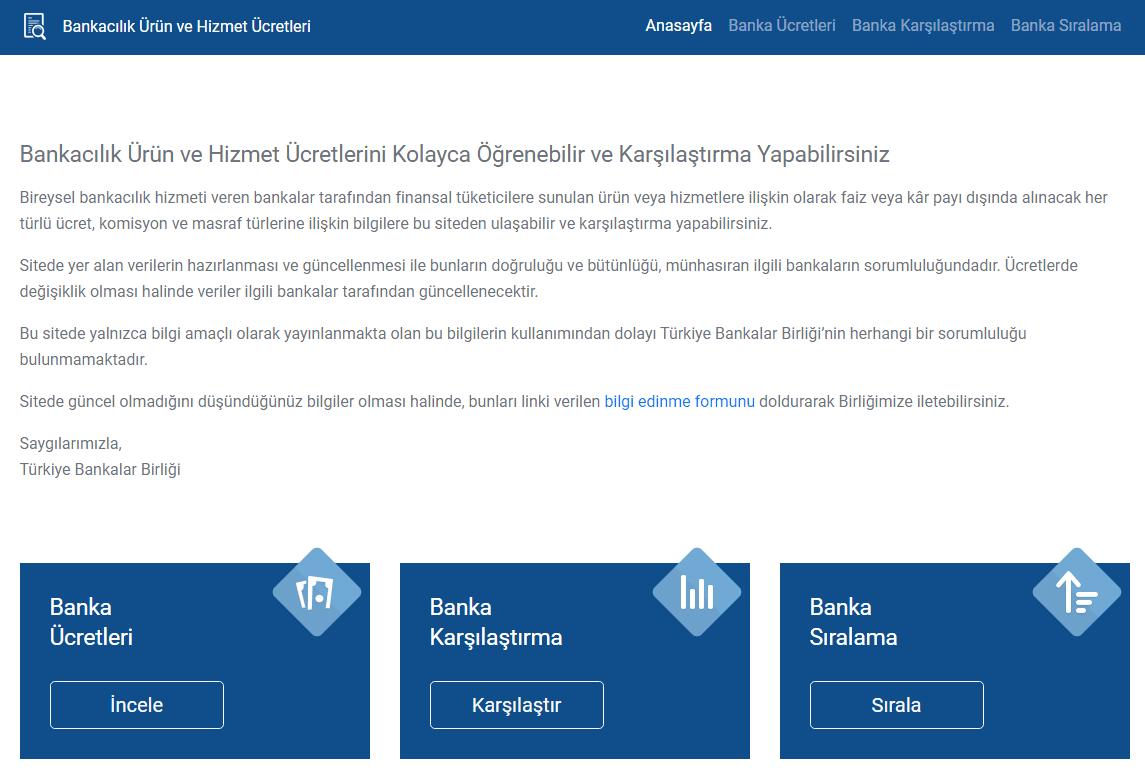 Bankacılık Ürün ve Hizmet Ücretleri Web Sitesi Açıldı